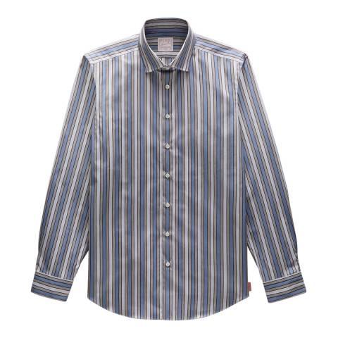 Thomas Pink Blue Stripe Vintage Portland Slim Fit Shirt