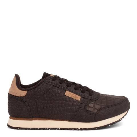 Woden Black Ydun Croco Leather Sneakers