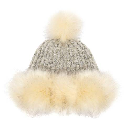 JayLey Collection Cream/Beige Pompom Hat