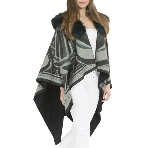 JayLey Collection Black/Grey Cashmere Wrap with Faux Fur Collar