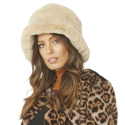 JayLey Collection Beige Faux Fur Hat