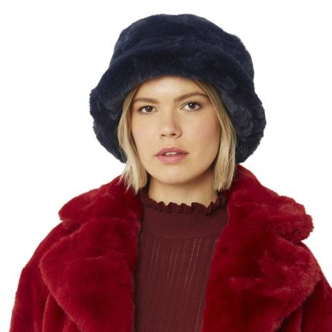 JayLey Collection Navy Faux Fur Hat