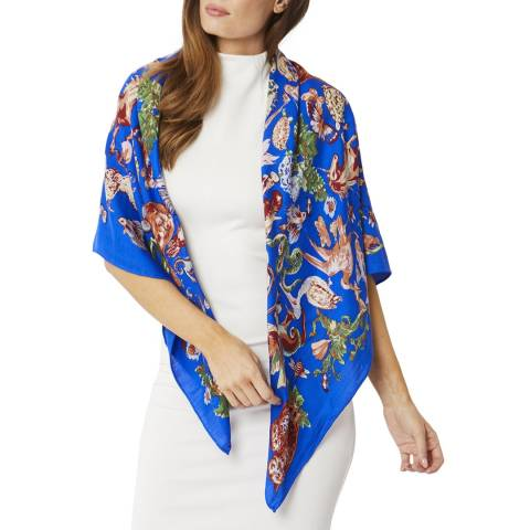 JayLey Collection Blue/Multi Cashmere Print Wrap