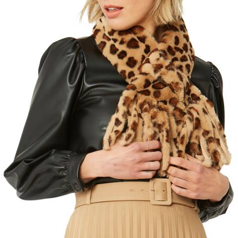 JayLey Collection Brown Animal Print Faux Fur Scarf