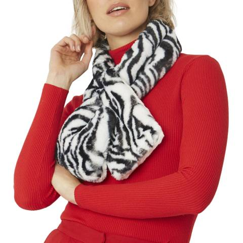 JayLey Collection Black/White Animal Print Faux Fur Scarf
