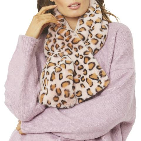 JayLey Collection Brown/Pink Animal Print Faux Fur Scarf