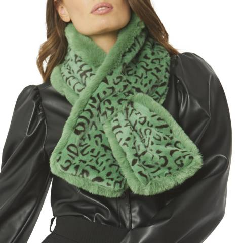 JayLey Collection Green/Black Animal Print Faux Fur Scarf