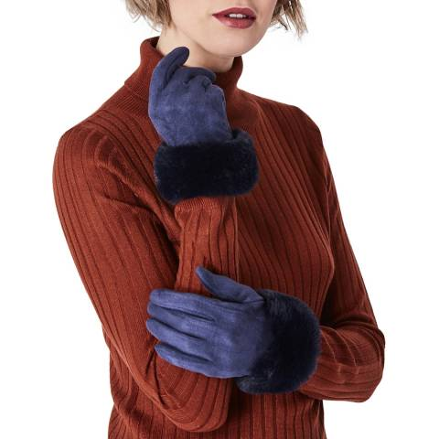 JayLey Collection Navy Gloves with Faux Fur Trim