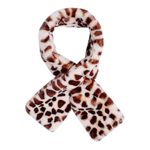 JayLey Collection Brown/White Animal Print Faux Fur Scarf