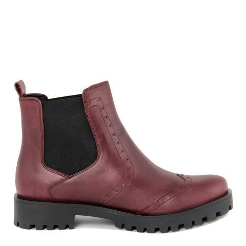 Pelledoca Burgundy Leather Vintage Effect Ankle Boot