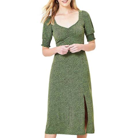 Oasis Green Animal Sweetheart Midi Dress