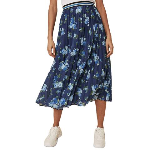 Oasis Int Floral Pleated Midi Skirt