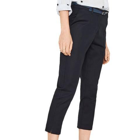 Oasis Navy Compact Cotton Capri Trouser