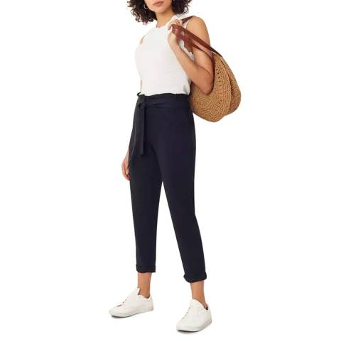 Oasis Navy Frill Top Peg Trouser