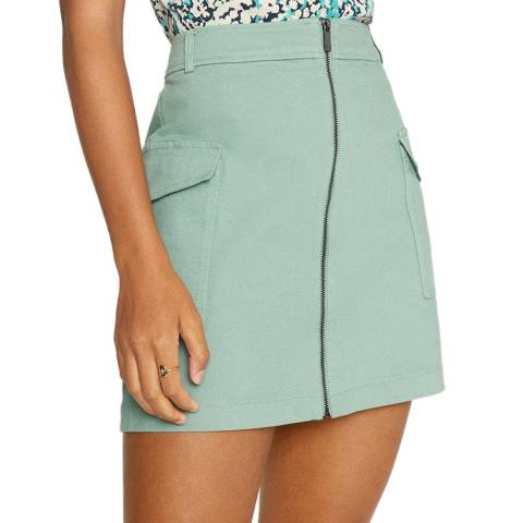 Oasis Pale Green Zip Through Utility Skirt