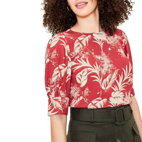 Oasis Red Bi-Colour Palm Balloon Sleeve Top