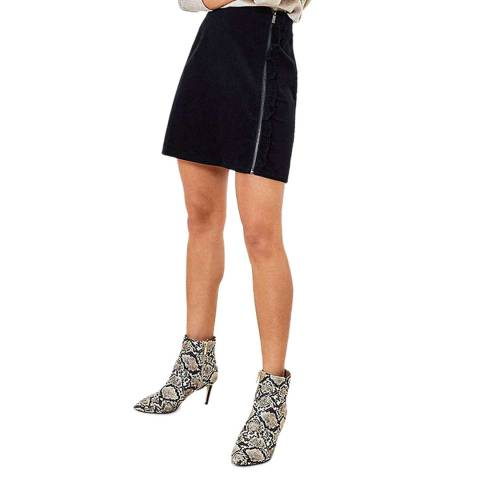 Oasis Navy Cord Ruffle Skirt