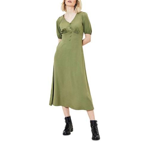 Oasis Khaki Puff Sleeve Midi Dress