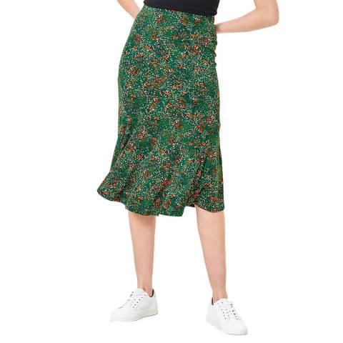 Oasis Green Confetti Print Midi Skirt