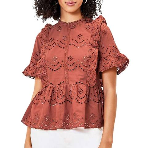 Oasis Mid Brown Broderie Frill Sleeve Top