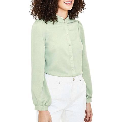Oasis Green Ruffle Front Shirt