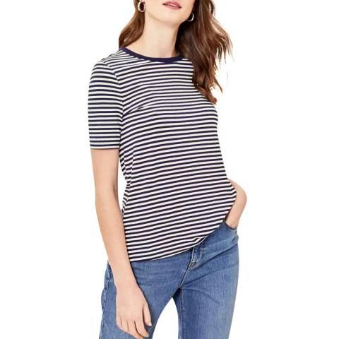 Oasis Navy Formal Step Hem Stripe T-Shirt