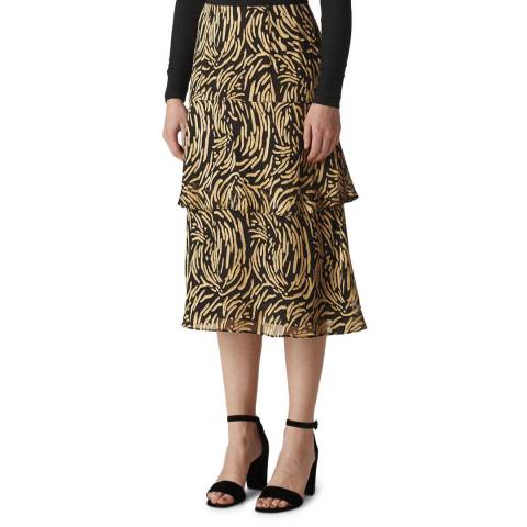 WHISTLES Gold Reed Devore Midi Skirt