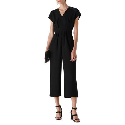 WHISTLES Black Mia Satin Mix Jumpsuit