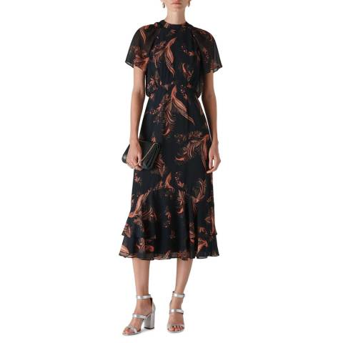 WHISTLES Black/Multi Rose Paisley Leaf Dress
