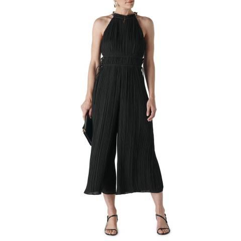 WHISTLES Black Plisse Pleated Jumpsuit
