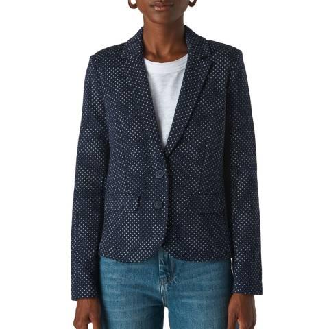 WHISTLES Navy Spot Cotton Jersey Jacket