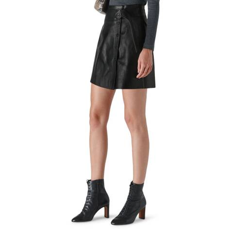 WHISTLES Black A Line Leather Skirt