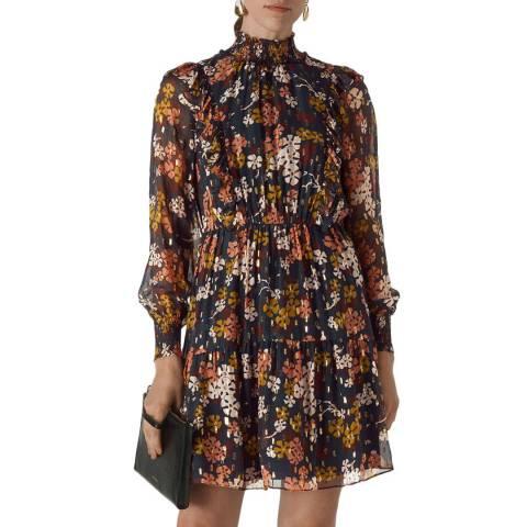 WHISTLES Multi Clover Floral Silk Blend Dress
