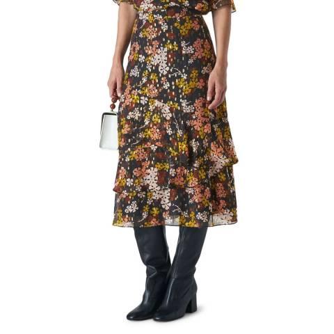 WHISTLES Multi Clover Floral Midi Skirt