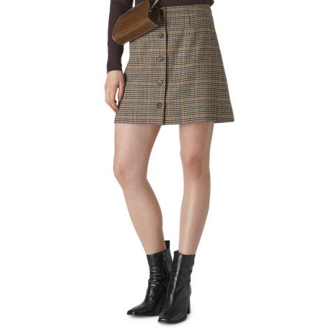 WHISTLES Multi Houndstooth Button Skirt
