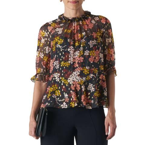 WHISTLES Multi Clover Floral Silk Blend Top