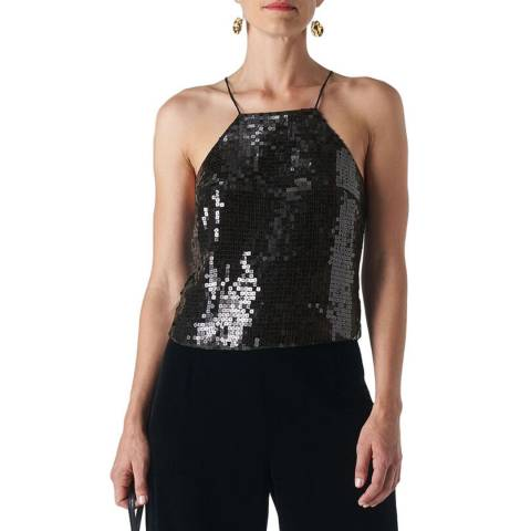 WHISTLES Black Square Sequin Cami Top