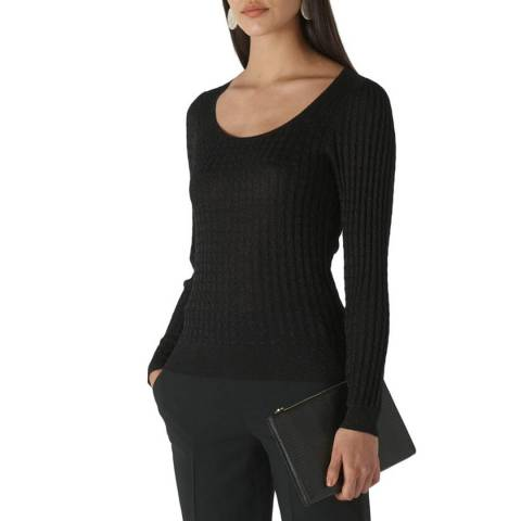 WHISTLES Black Sparkle Cable Knit Jumper