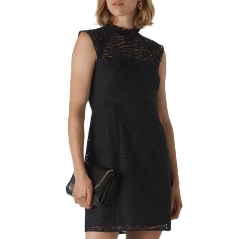 WHISTLES Black Animal Lace Dress
