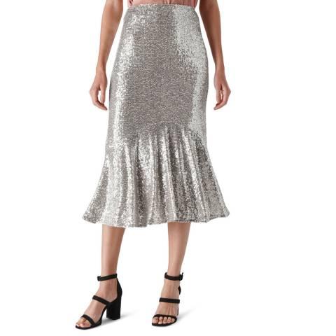 WHISTLES Silver Suki Sequin Midi Skirt