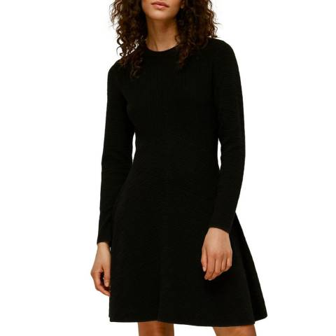 WHISTLES Black Ottoman Knitted Flippy Dress