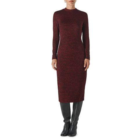 WHISTLES Deep Red Animal Jersey Jacquard Dress