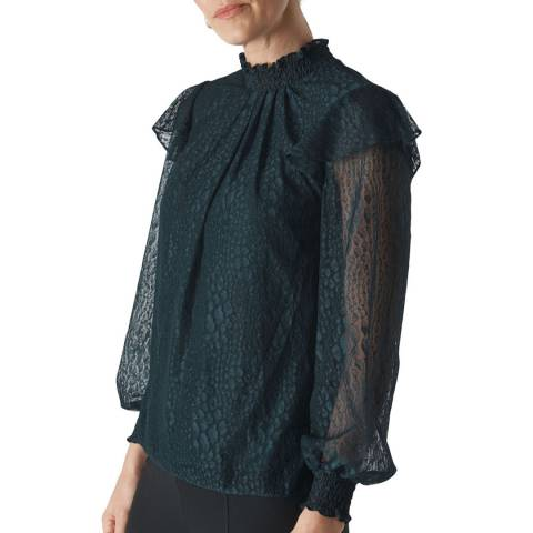 WHISTLES Dark Green Eila Animal Lace Top