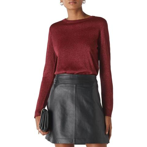WHISTLES Deep Red Sparkle Knit Jumper