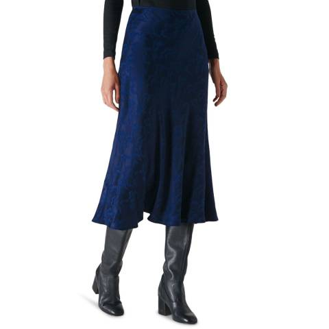 WHISTLES Navy Cloud Jacquard Bias Midi Skirt