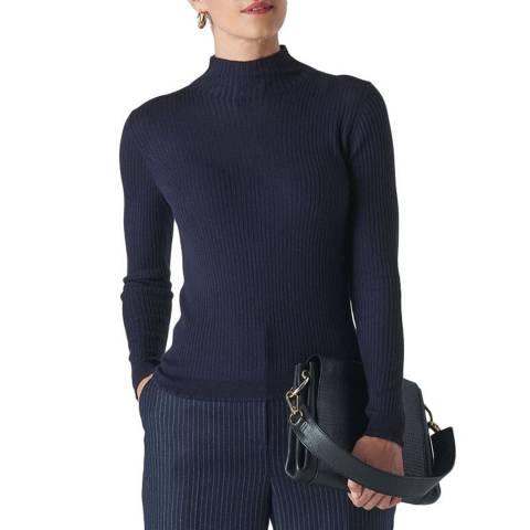 WHISTLES Navy Carmen Silk Blend Jumper