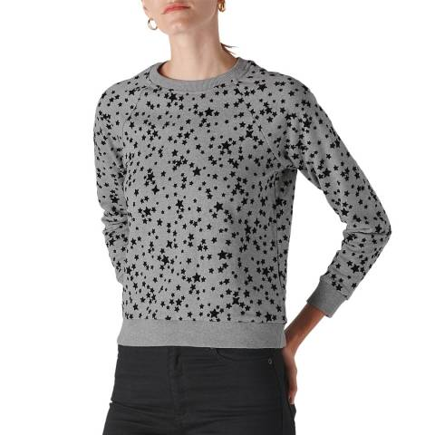 WHISTLES Grey Star Flocked Cotton Sweatshirt