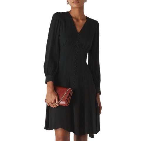 WHISTLES Black Short Button Through Dress