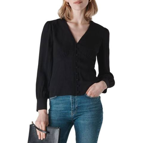 WHISTLES Black Neave Button Through Top