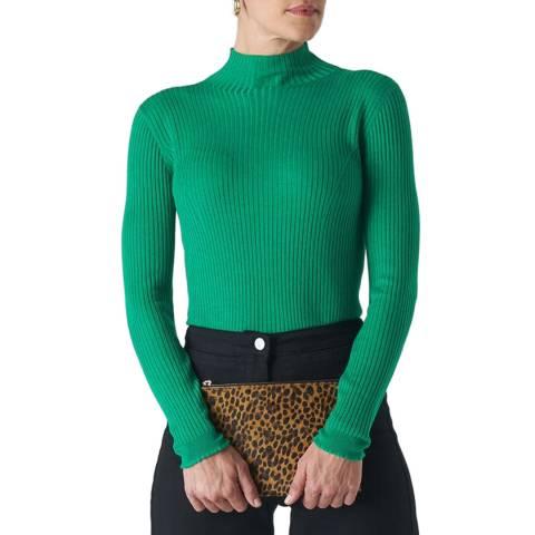 WHISTLES Green Carmen Ribbed Jumper